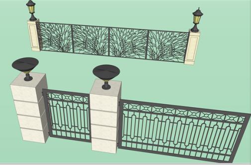 护栏围墙围栏铁艺大门SketchUp模型