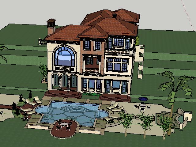 三层别墅设计SketchUp模型