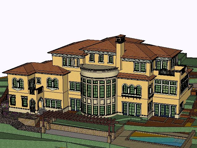 三层西班牙风格别墅SketchUp模型