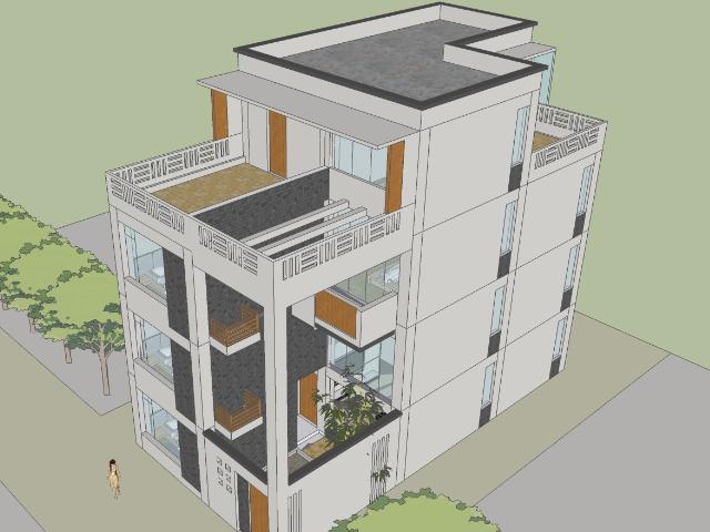 四层现代别墅设计SketchUp模型