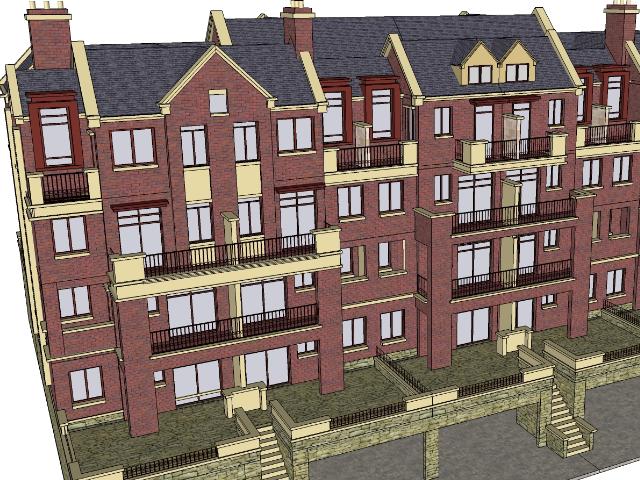 四层联排别墅设计SketchUp模型