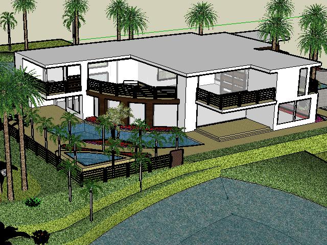 现代别墅庭院景观设计_二层现代别墅庭院景观设计SketchUp模型免费下载 - SketchUp - 土木 ...