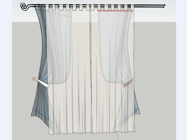 室内装修窗帘组件设计SketchUp模型