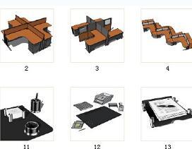 36款办公家具及办公用品SketchUp模型