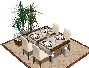 45款餐桌SketchUp模型
