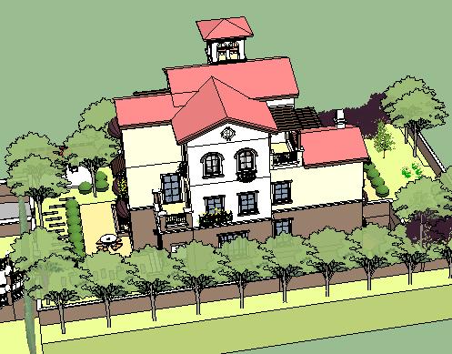 别墅花园SketchUp模型