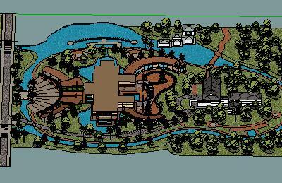 某环岛公园景观设计SketchUp模型