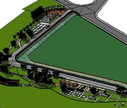 某滨河公园景观设计SketchUp模型