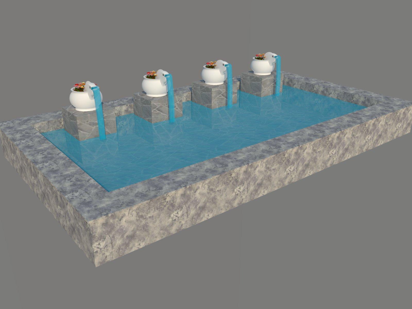 园林鱼型喷水水池SketchUp模型