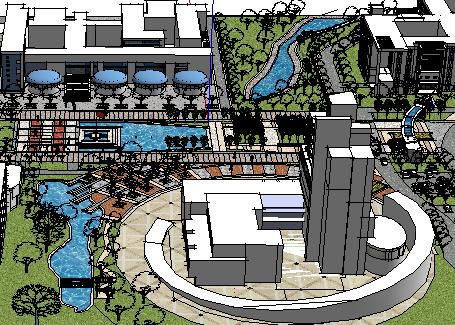 滨水居住区景观su模型设计