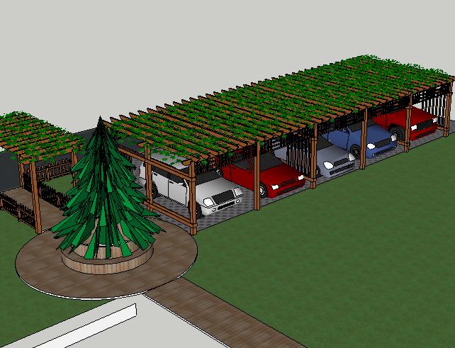 景观花架车库栅栏SketchUp模型
