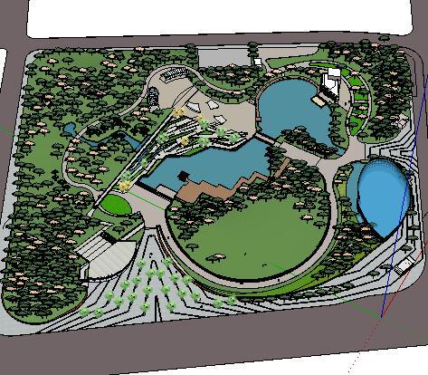 某大型公园园林景观SketchUp模型