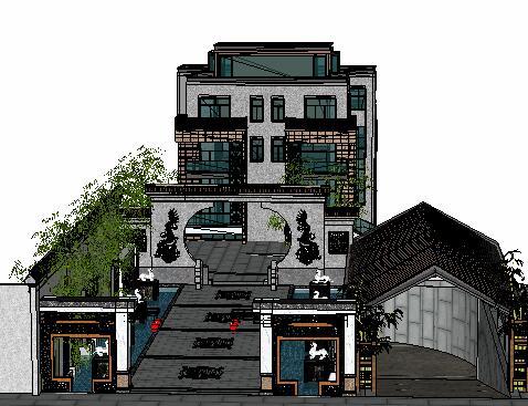中式庭院景观设计SketchUp模型