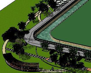 某河滨公园园林景观设计SketchUp模型