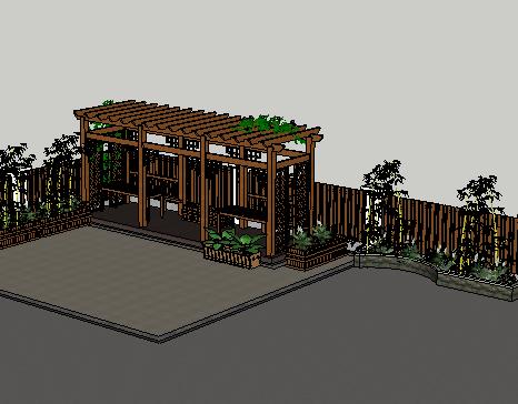 木塑景观花架SketchUp模型
