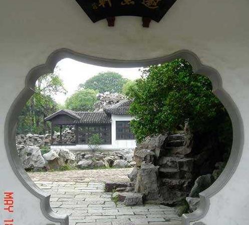 中式古典形状洞门设计面板的园林分类总结信息工艺设计素材图片
