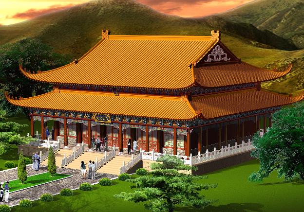 古建筑:寺庙设计图纸汇总