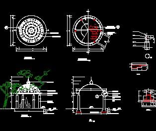 欧式铁艺亭设计详图免费下载 - 小品及配套设施