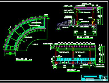 车库入口顶部钢制弧形花架结构详图