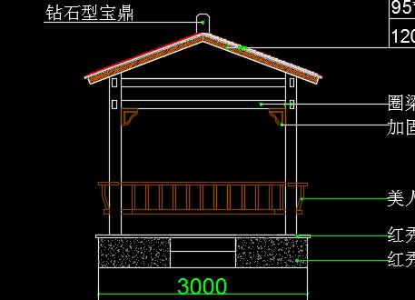 凉亭景观墙花架施工图纸