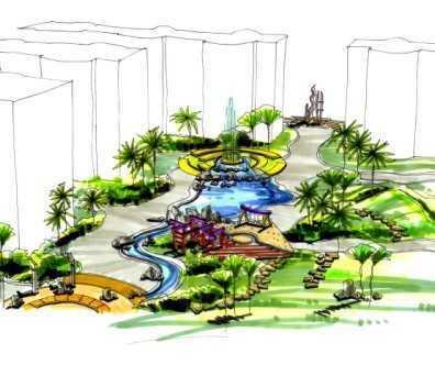 中天雅苑小区手绘园林方案图