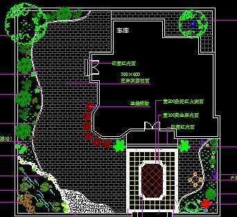 某别墅庭院平面施工图免费下载 - 景观规划设计