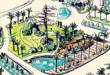 园林手绘效果图
