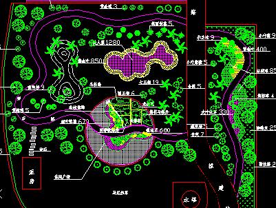 小游园绿化平面图