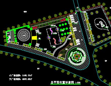 广场总平面布置示意图