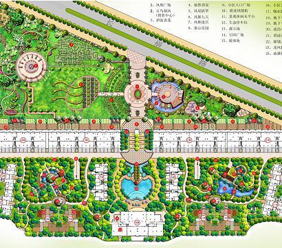 某住宅小区景观规划总平面彩图