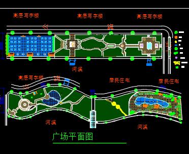某滨水广场景观设计图纸