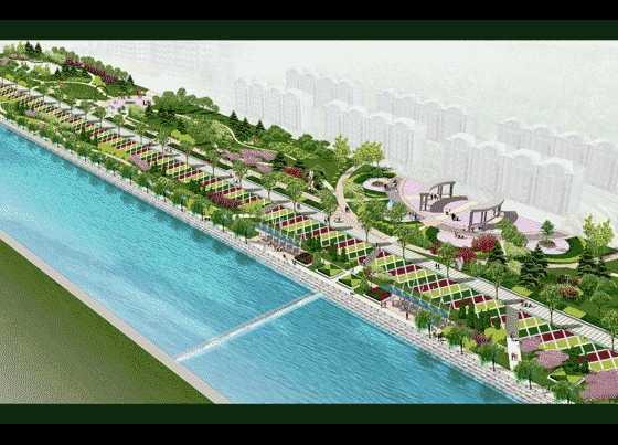 某河边景观绿化效果图免费下载 - 园林景观效果图