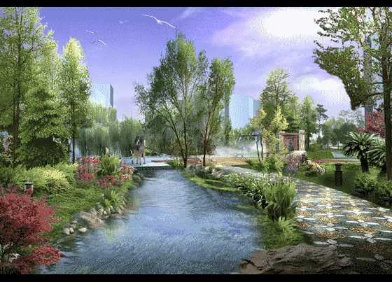 滨水景观设计透视图免费下载 - 园林景观效果图