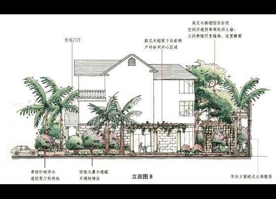 欧式别墅园林设计手绘图免费下载 - 园林景观效果图
