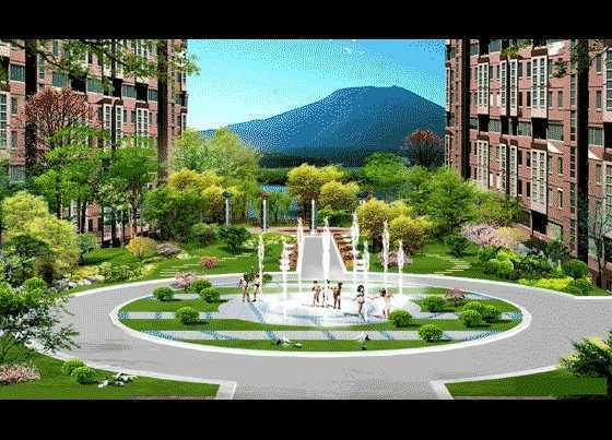 某小区局部喷泉景观效果图免费下载 - 园林景观效果图图片