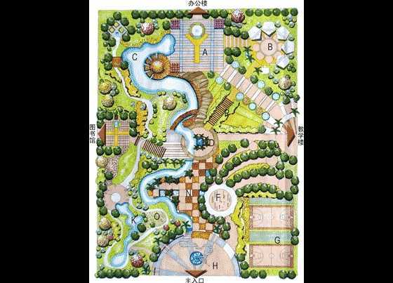 某校园生态广场设计彩平图