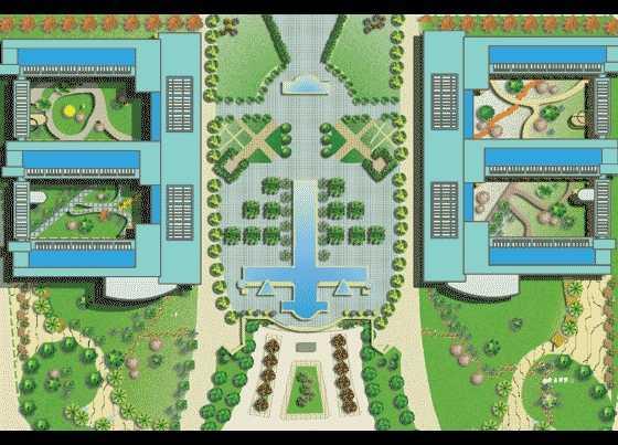 某校园景观设计总平面图免费下载 - 园林景观效果图