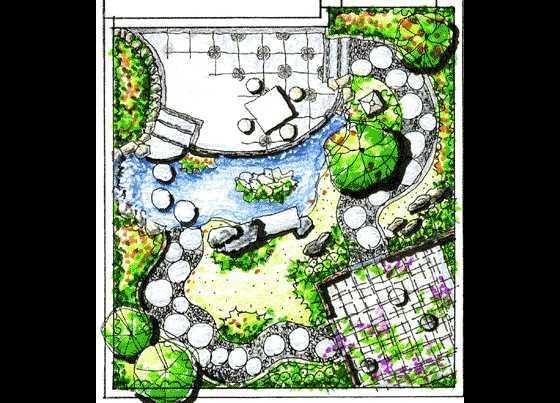 别墅手绘平面图免费下载 - 园林景观效果图 - 土木