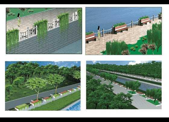 河道驳岸绿化设计效果图