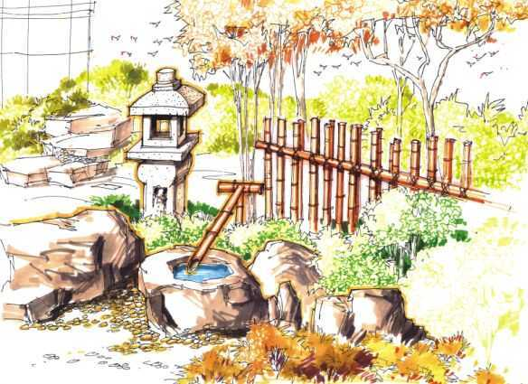 手绘日式小景效果图免费下载 - 园林景观效果图