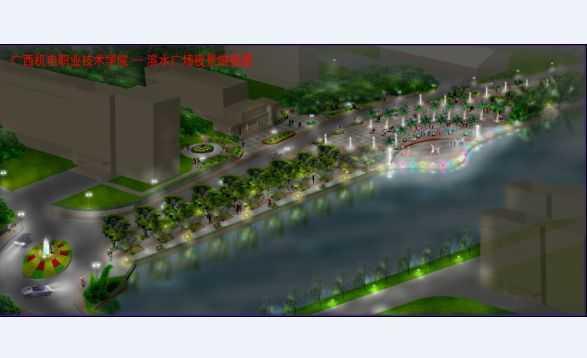 某校园滨水广场夜景俯视图图片