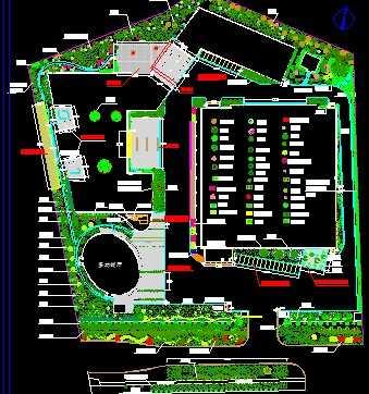 某厂区景观绿化设计施工图免费下载 - 园林景观效果图