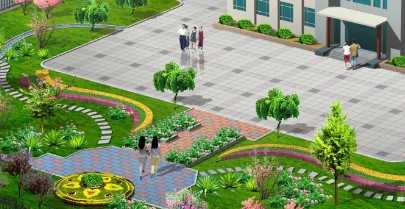 办公楼前景观绿化效果图
