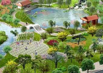 某市小游园景观设计鸟瞰图免费下载 - 园林景观效果图