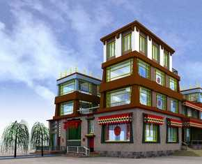藏族土库房风格别墅效果图图片