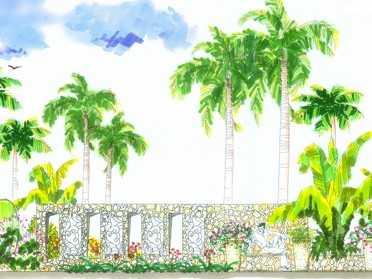 手绘设计景墙效果图