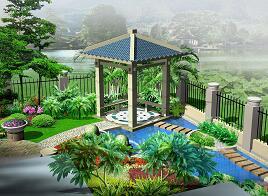 小型别墅花园景观设计效果图