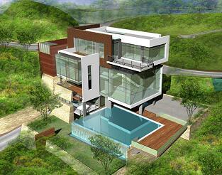 别墅区景观设计效果图