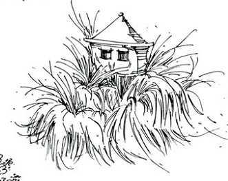 园林单体钢笔画免费下载 - 园林景观素材 - 土木工程网