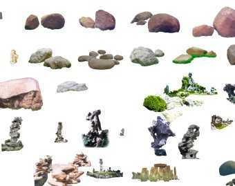 点景石组合psd图免费下载 - 园林景观素材 - 土木工程